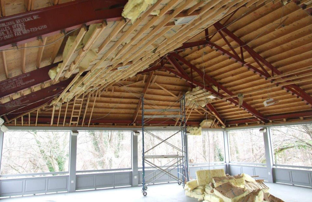 The Beaded Board Ceiling Was Removed And The Steel Clips Used To Hold It To  The Roof Beams Inspired Their Reuse For The Fiber Optic Design.